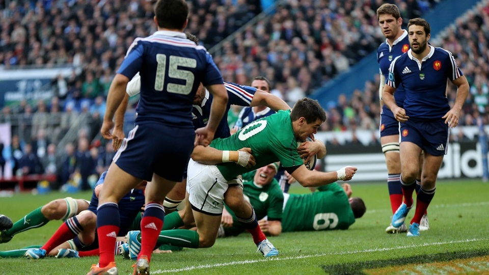 Johnny Sexton crosses for Ireland's first try