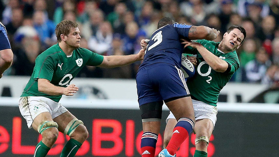 Johnny Sexton had to be replaced after this collision with France's Mathieu Bastareaud