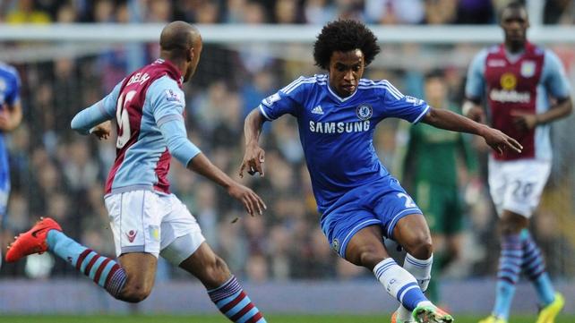 Nine-man Chelsea beaten by Villa