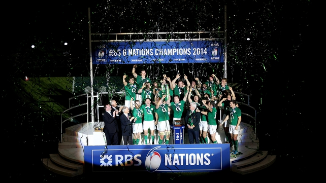 Ireland lift the Six Nations trophy at Stade de France