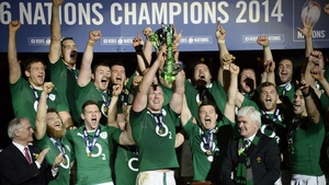 Ireland captain Paul O'Connell lifts the Six Nations trophy