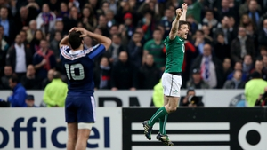 Brian O'Driscoll jumps for joy as Ireland win in Paris