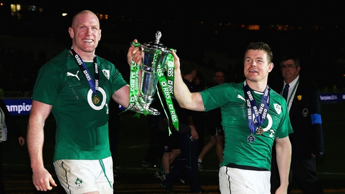 Ireland captain Paul O'Connell and Brian O'Driscoll with the Six Nations trophy