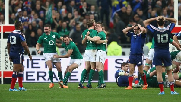 The Ireland players celebrate Six Nations glory in Paris