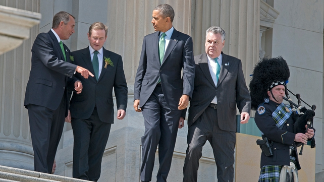 Speaker of the House John Boehner, Enda Kenny, US President Barack Obama and US Representative Peter T King depart the US Capitol after a St Patrick's Day lunch (Pic: EPA)