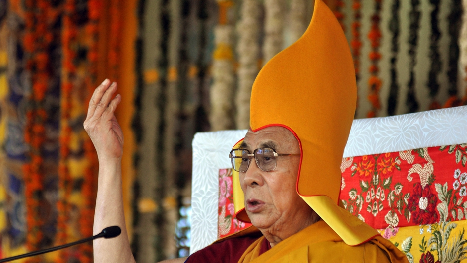 Tibetan spiritual leader The Dalai speaks during a session of short teaching from the Jataka Tales at the main Tibetan Tsuglagkhang temple at McLeodGanj near Dharamsala, India (Pic: EPA)
