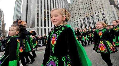 Irish dancers take part in the New York parade last year