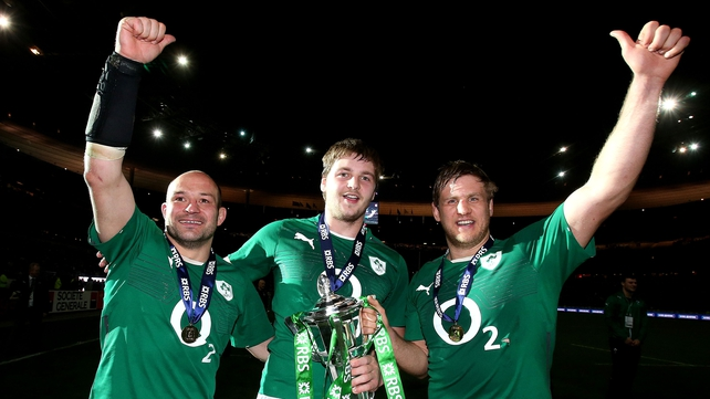 Chris Henry (right) celebrates Ireland's Six Nations win with his Ulster team-mates Rory Best and Iain Henderson