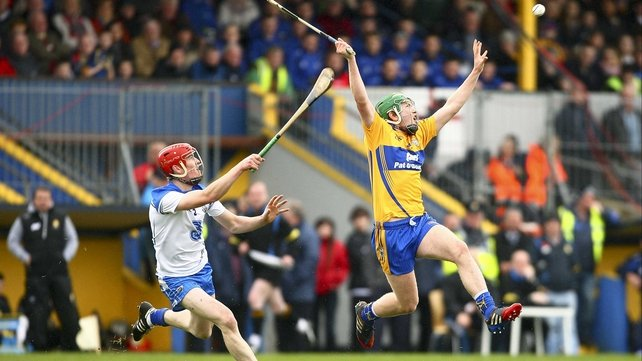 Cathal McInerney is first to the high ball, the Banner were ruthless against their Munster rivals this afternoon