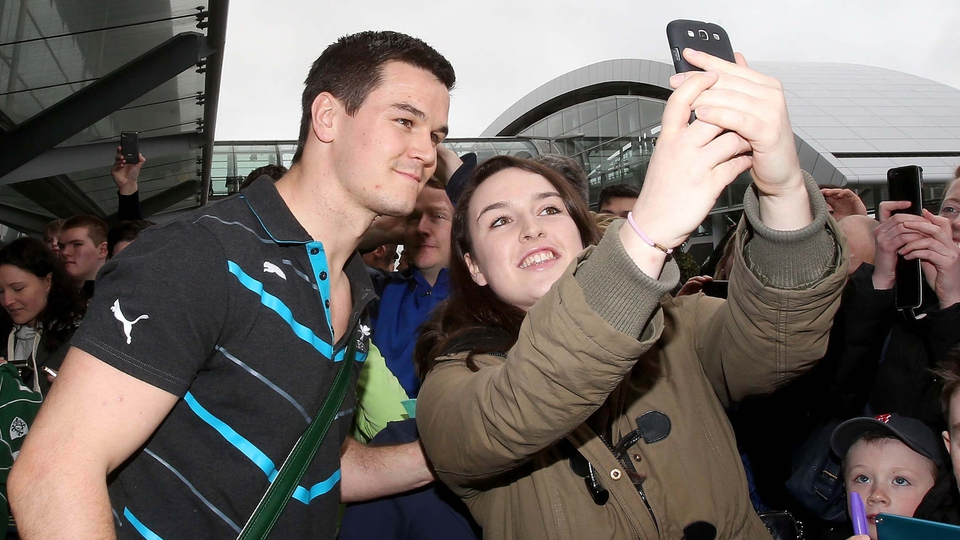 'Selfies' were the order of the day, Jonathan Sexton here posing with a fan