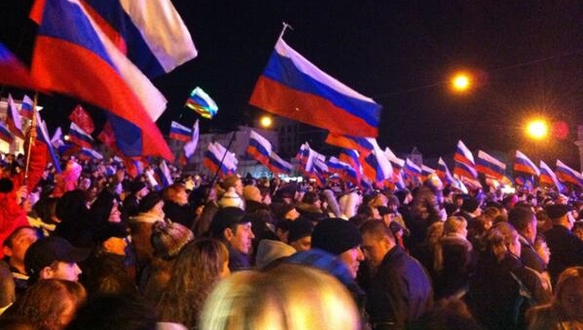 Crowds have gathered in Lenin Square in Simferopol