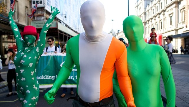 Revellers at the St Patrick's Day parade which took place in Central London yesterday