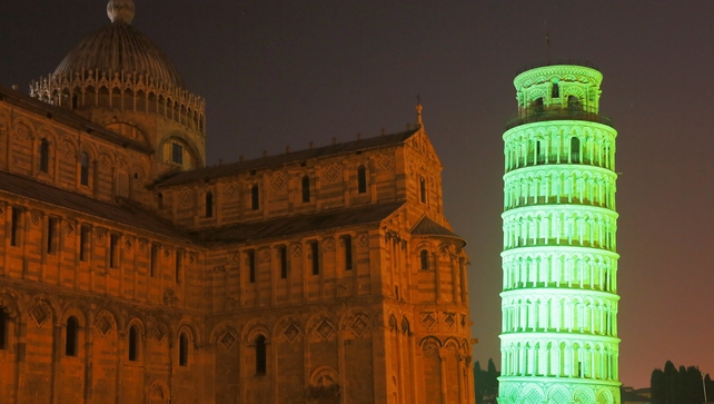 The leaning tower of Pisa is one of many sites around the world which are lit up in green for St Patrick's Day
