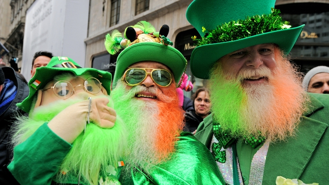 Parade goers at the 251st annual St Patrick's Day Parade in New York (Pic: EPA)