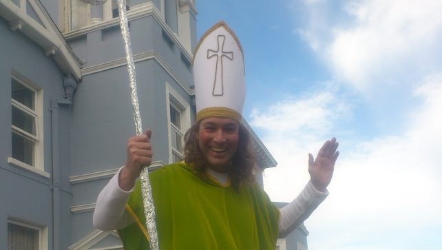 St Patrick looking for snakes on Bray Main Street (Pic: Jay Mahon)