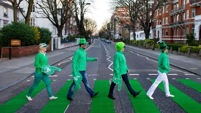 The zebra crossing on Abbey Road, St John's Wood in London, is turned green (Pic: Tourism Ireland's Global Greening Initiative)