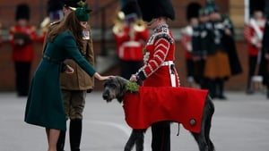 Britain's Catherine, Duchess of Cambridge, strokes the regimental mascot Irish Wolf Hound dog as she attends a parade with the 1st Battalion Irish Guards in Mons Barracks in Aldershot