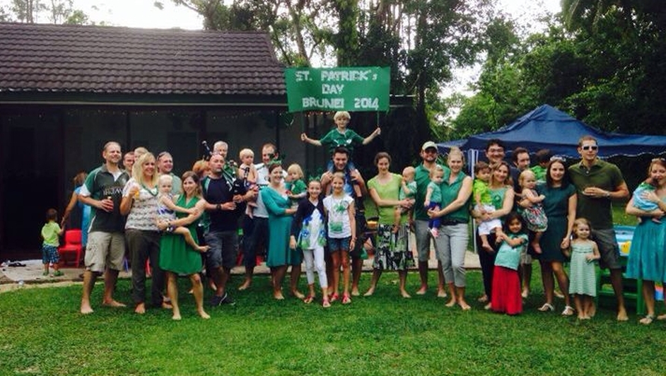 Aisling Carey and family celebrating St Patrick's Day in Brunei, Southeast Asia