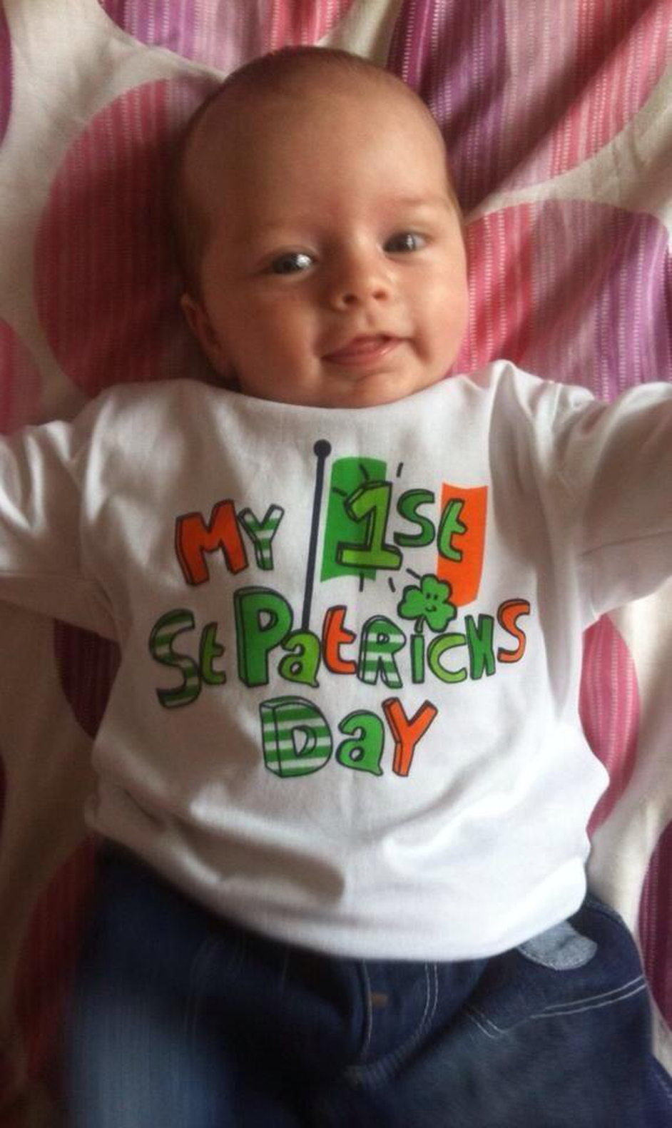 Kaiden O'Brien from Santry in Dublin celebrates his first St Patrick's Day