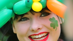 A woman takes part in the St Patrick's Day Parade in Berlin, Germany