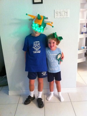 Mia and josh enjoying their first St Patricks day in the Cayman Islands