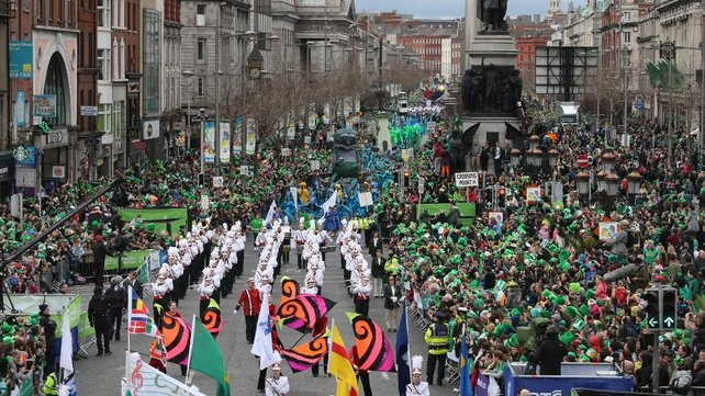 Dublin's parade, one of the largest in the world, makes its way down O'Connell Street towards St Patrick's Cathedral