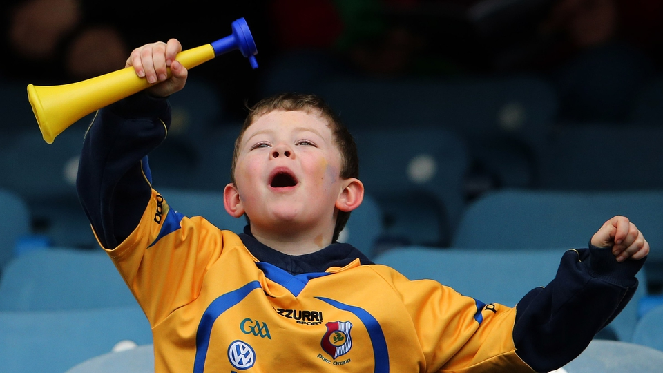 A young Portumna fan gets into the spirit of the day