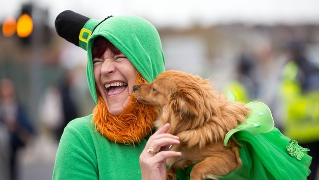 A participant in the Limerick City parade enjoying the occasion (Pic: Sean Curtin)