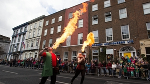 'Keeping her lit' in the Limerick City parade (Pic: Sean Curtin)