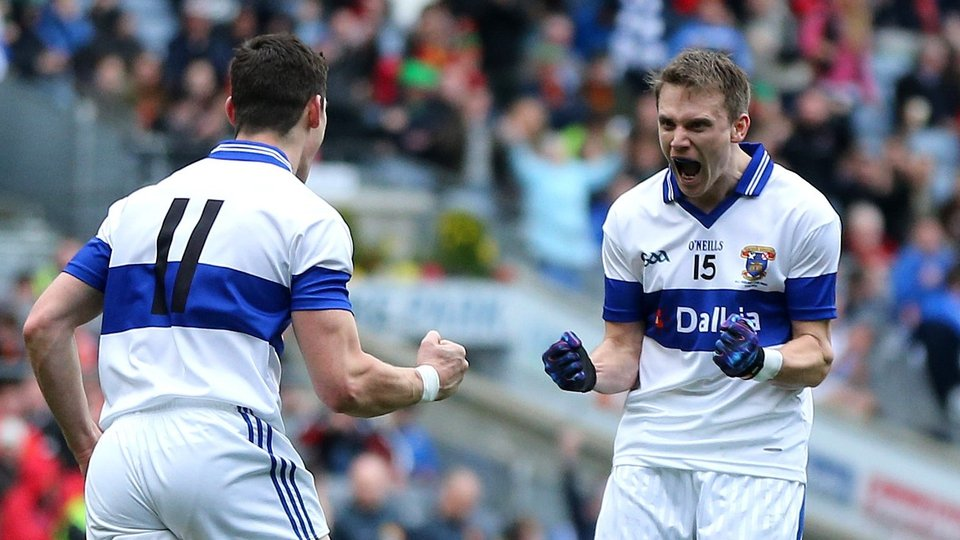 Diarmuid Connolly celebrates scoring his second goal with Tomás Quinn