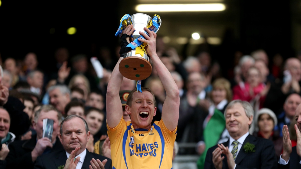 Portumna captain Ollie Canning lifts the Tommy Moore Cup