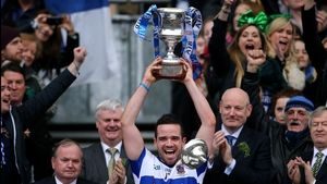 Ger Brennan of St Vincent's lifts the Andy Merrigan Cup