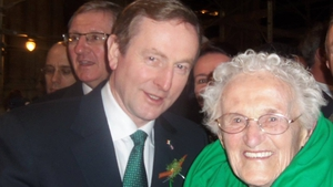 Taoiseach Enda Kenny meets Annie Grealis from Mulranny, Co Mayo at mass in New York. Annie, who is aged 92, is visiting her daughter for St Patrick's Day