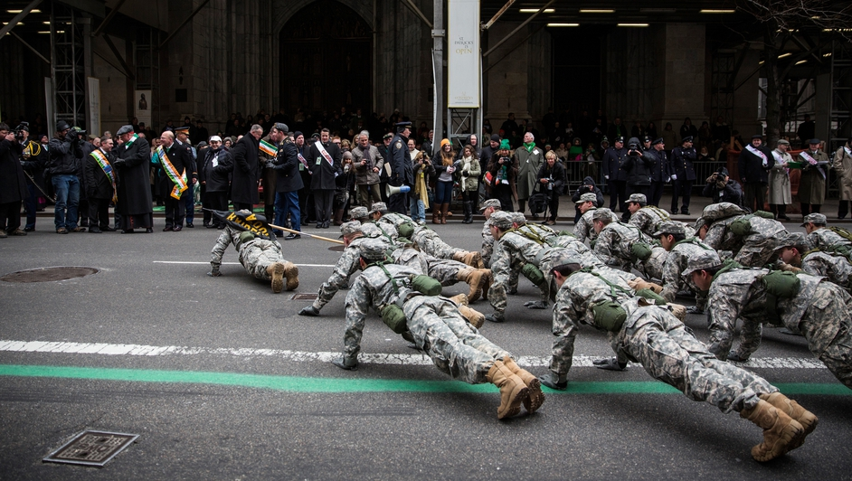 Members of the military did push-ups in front of St Patrick's Cathedral
