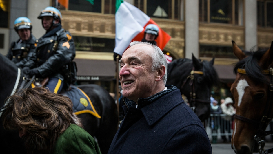 New York Police Department Commissioner Bill Bratton was among those marching in the event