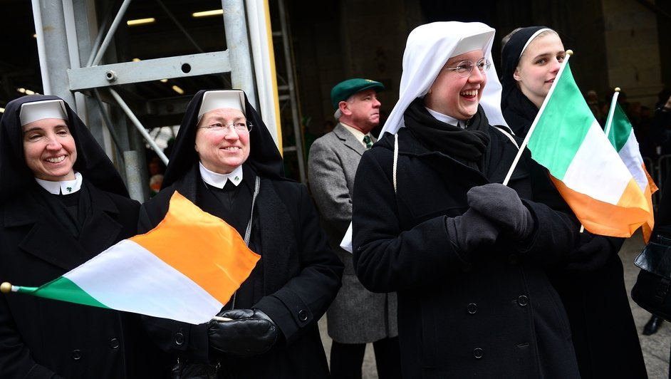 This group of nuns were among the spectators watching the parade as it passed