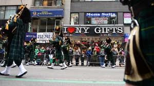 Bagpipers were among the many musicians marching in the parade