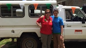 Maria Kidney and Naomi Campbell celebrating St Patrick's Day in Londiani, Kenya