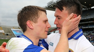 Tomas Quinn and Eamon Fennell of St Vincent's share a moment after the game