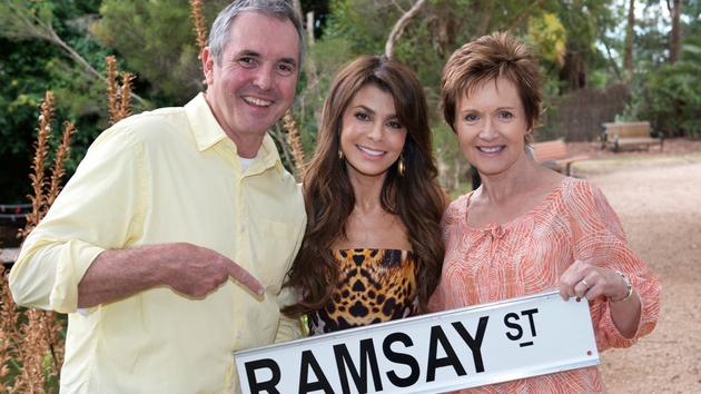 Paula Abdul on the set of Neighbours with Alan Fletcher and Jackie Woodburne