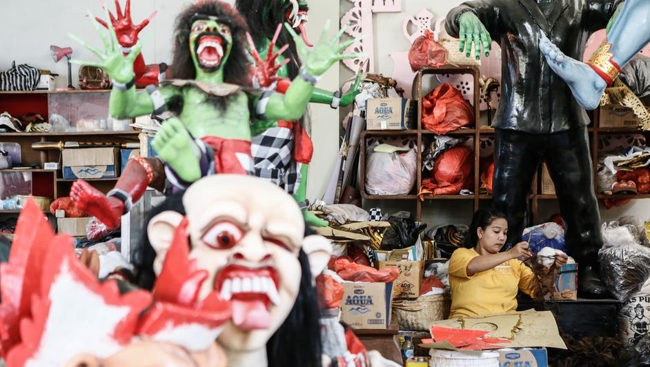 Staff worker prepares the ornament of Ogoh-Ogoh Effigies at Gases Workshop in Denpasar, Bali, Indonesia