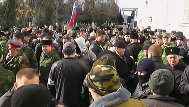 A Ukrainian spokesman said a number of pro-Russian protesters entered the navy base
