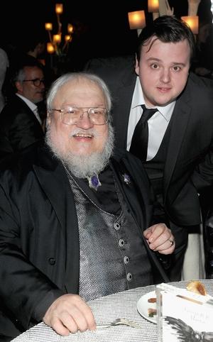Writer George RR Martin with John Bradley who plays Samwell Tarley