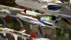 A Malaysian Airlines model aircraft on sale at a shopping mall in Kuala Lumpur, Malaysia (Pic:EPA)
