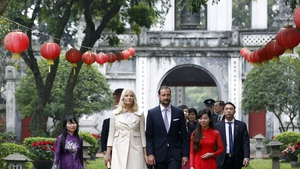 Norwegian Crown Prince Haakon and Crown Princess Mette-Marit visit the Temple of Literature in Hanoi, Vietnam during an official visit to Vietnam (Pic:EPA)