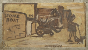 The collection includes a painted pub sign showing the artist in his cart outside the 'Stone Boat' pub