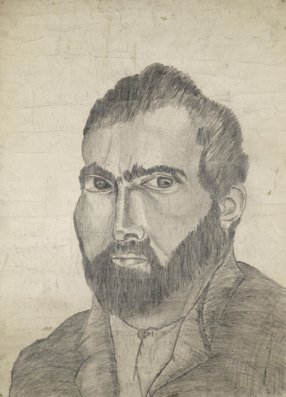 This collection contains artwork including a pencil drawing which is believed to be a self-portrait