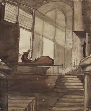 This large watercolour shows a church interior