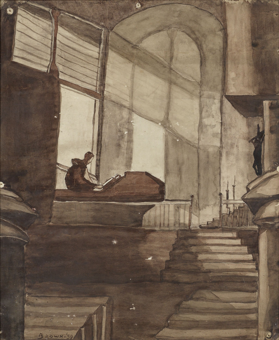 This large watercolour shows a church interior