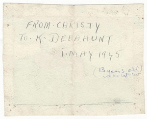 A series of letters written by Brown to his friend Katriona Delanhunt (later Maguire) are included in the collection